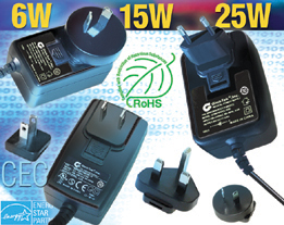 Interchangeable Blade Power Supplies ITE and Medical meet RoHS, Energy Star and California Energy Commission CEC Standards