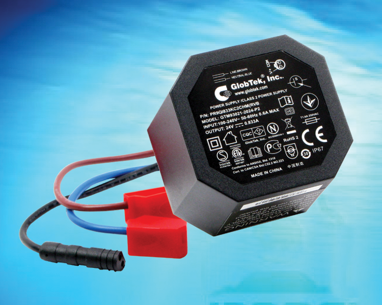 IP68 Rated Encapsulated Waterproof power supply series meets EN55022 for CE and EMC from 3VDC to 56VDC output at 20W, Model GTM93021-P2