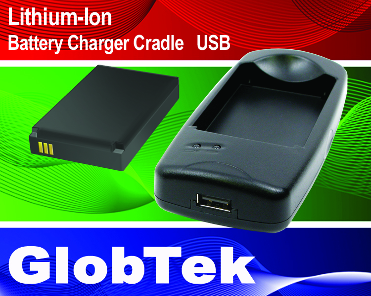 Lithium-Ion Battery Charger Cradle, USB Type 5V Input, 4.2V, 800mA Certified to CE/EMC + FCC for Single Model GT-91126-0305-0.8